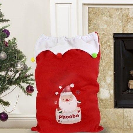 Personalised Pocket Santa Pom Pom Sack