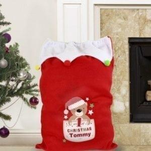 Personalised Pocket Teddy My 1st Christmas Pom Pom Sack