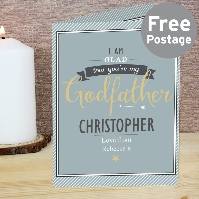Personalised I Am Glad... Godfather Card