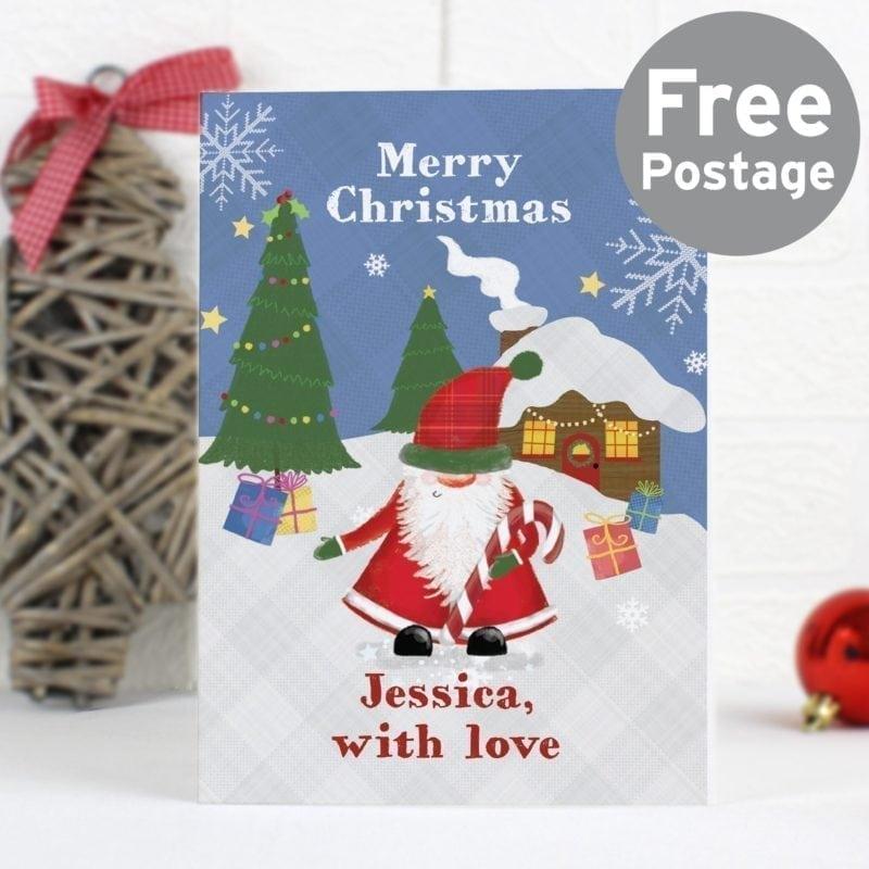 Personalised Tartan Santa Card