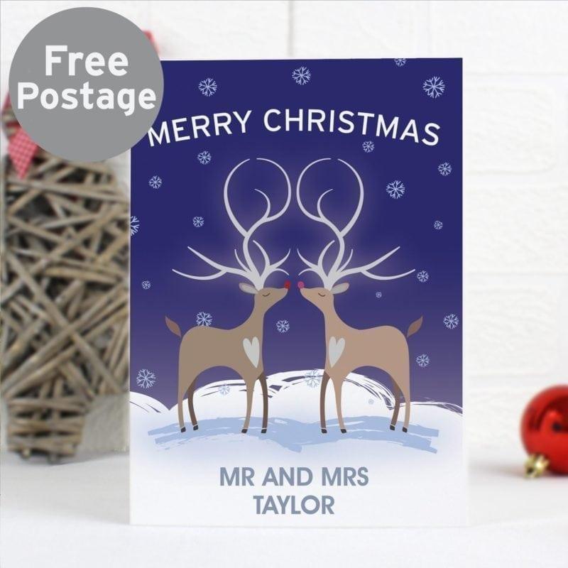 Personalised Reindeer Couple Card