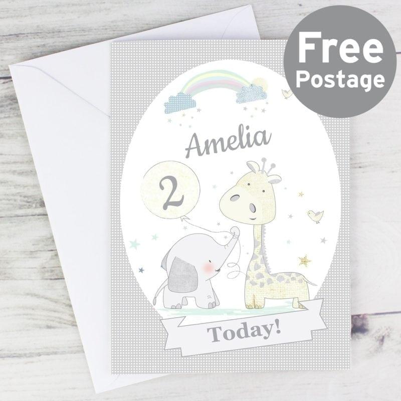 Personalised Hessian Giraffe & Elephant Card