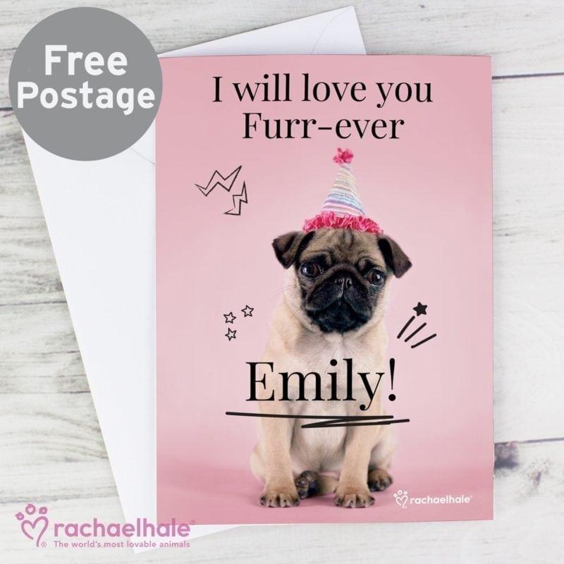 Personalised Rachael Hale Doodle Pug Card