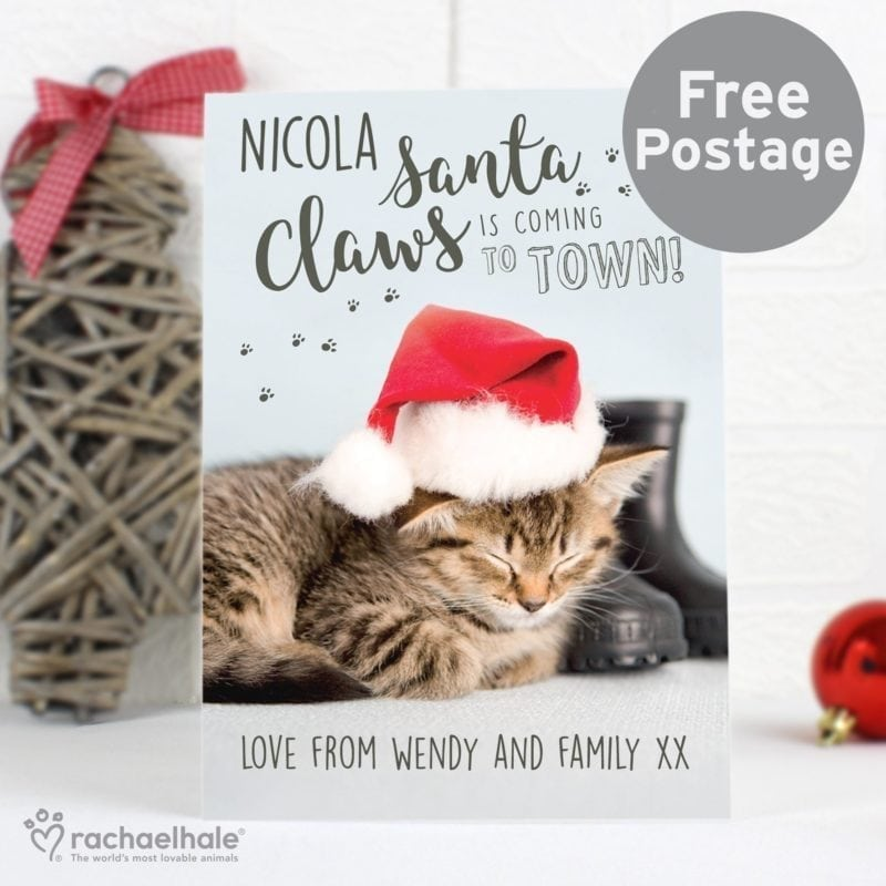 Personalised Rachael Hale Santa Claws Christmas Cat Card