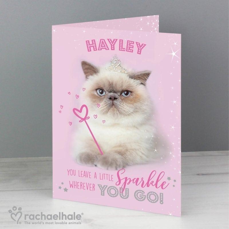 Personalised Rachael Hale Sparkle Cat Card