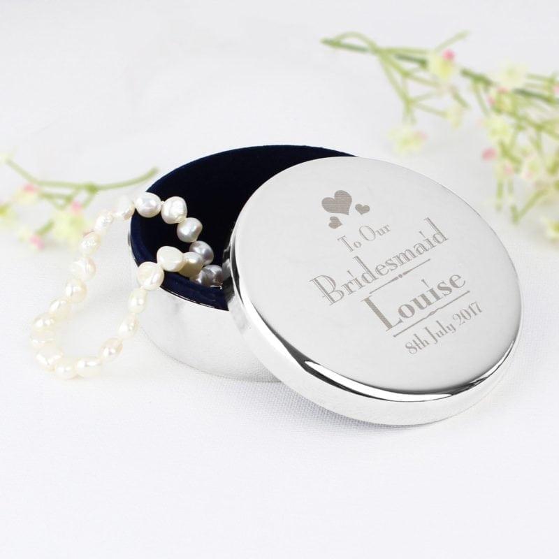 Personalised Decorative Wedding Bridesmaid Round Trinket Box
