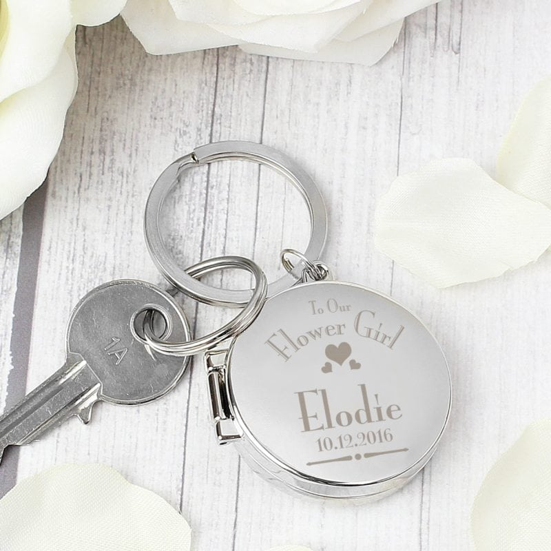 Personalised Decorative Wedding Flower Girl Round Photo Keyring