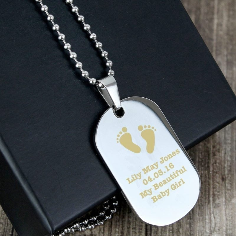 Personalised Footprints Stainless Steel Dog Tag Necklace
