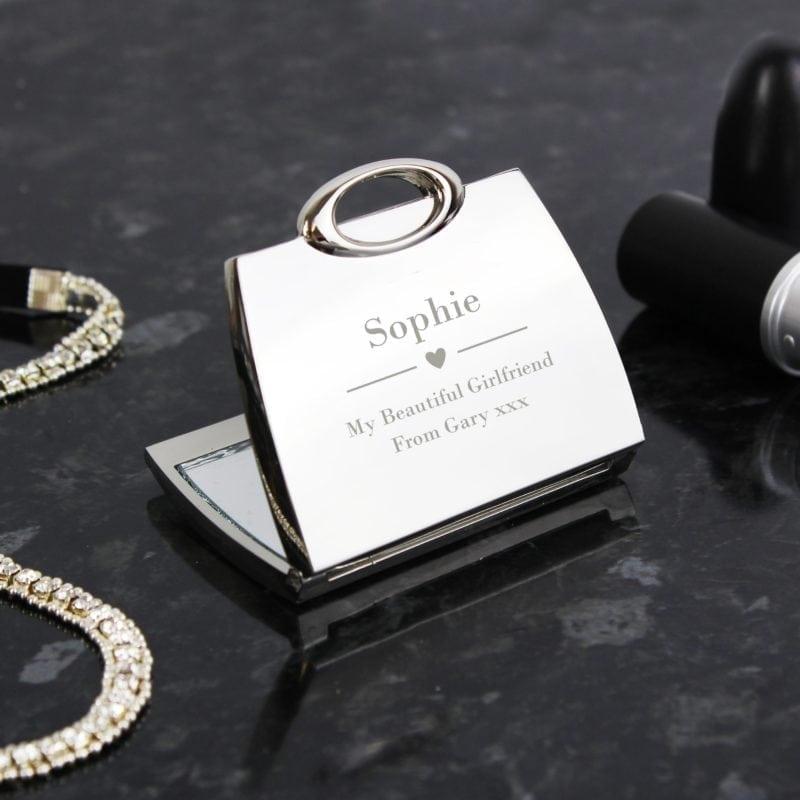 Personalised Decorative Heart Handbag Compact Mirror