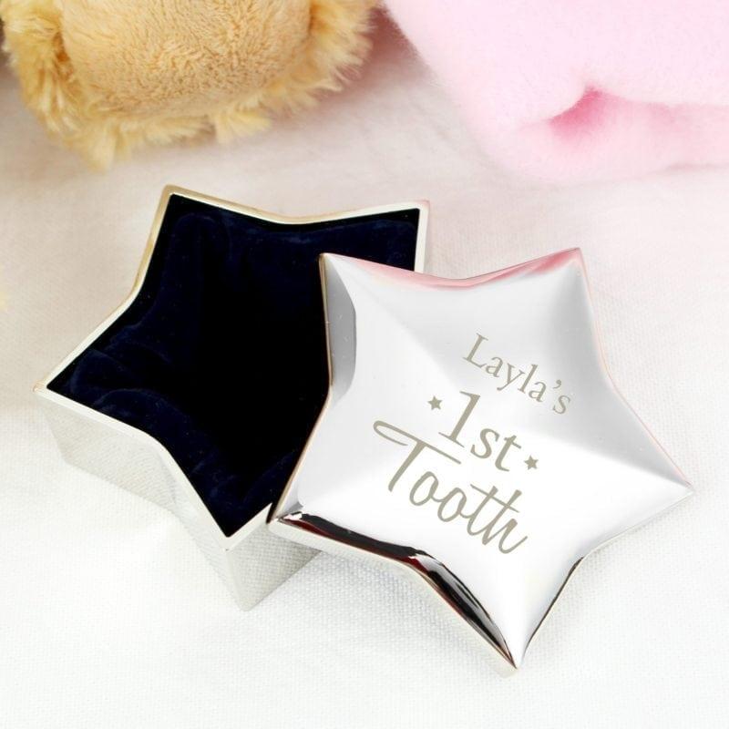 Personalised 1st Tooth Star Trinket Box