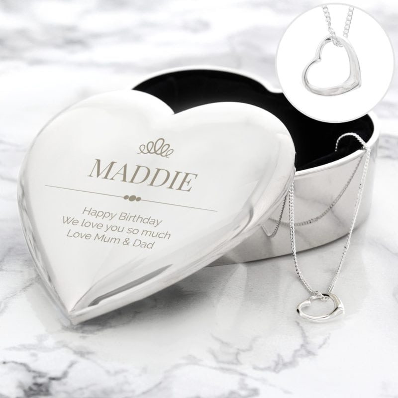 Personalised Elegant Crown Heart Trinket Box & Necklace Set