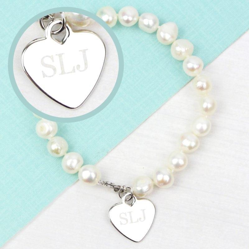 Personalised White Freshwater Pearl Initial Bracelet