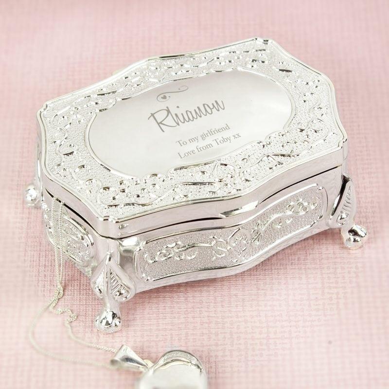 Personalised Swirls & Hearts Small Antique Trinket Box