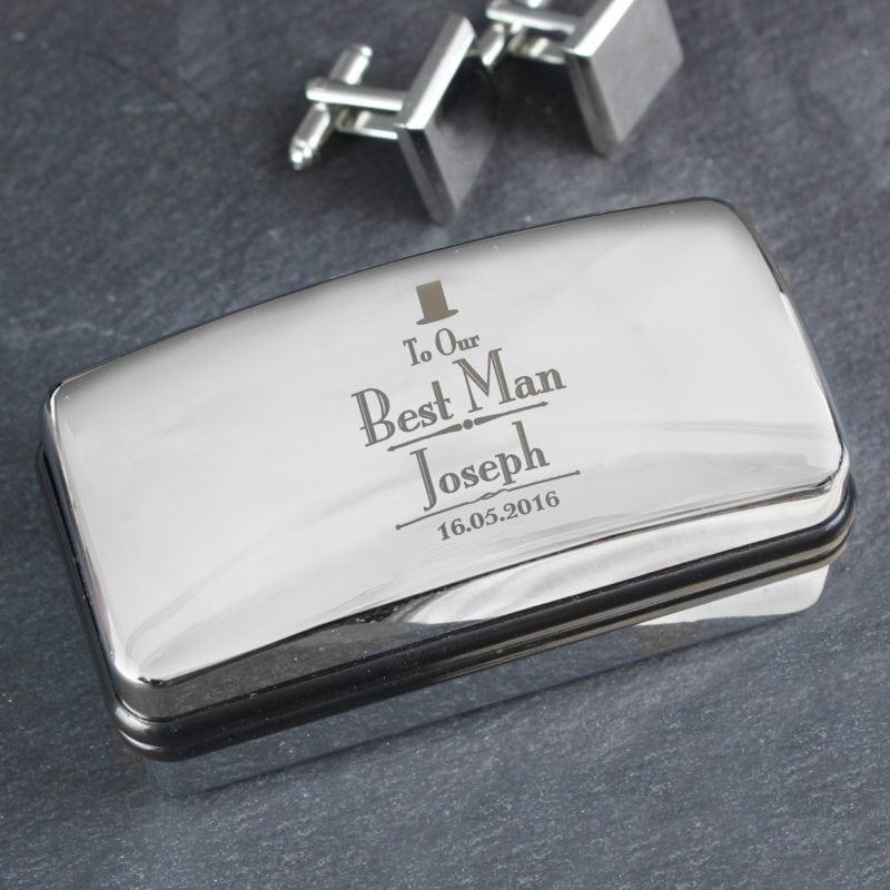 Personalised Decorative Wedding Best Man Cufflink Box