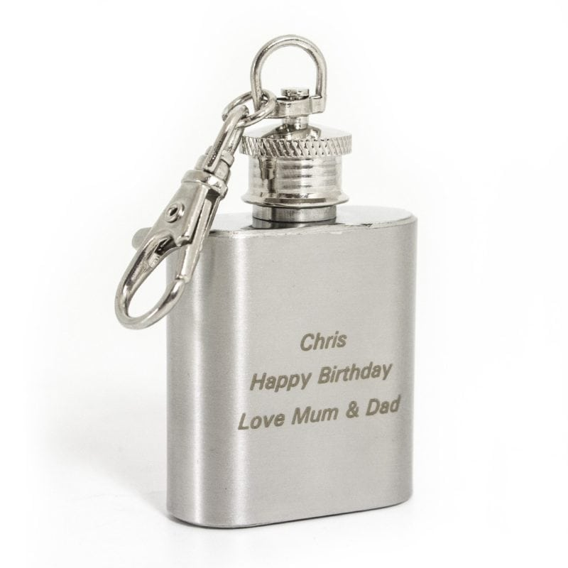 Personalised Stainless Steel 1oz Hip Flask Keyring