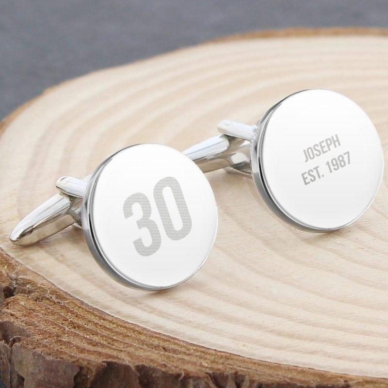 Personalised Big Age Round Cufflinks