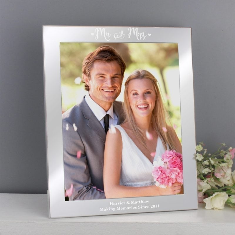 Personalised Mr & Mrs Silver 8x10 Photo Frame