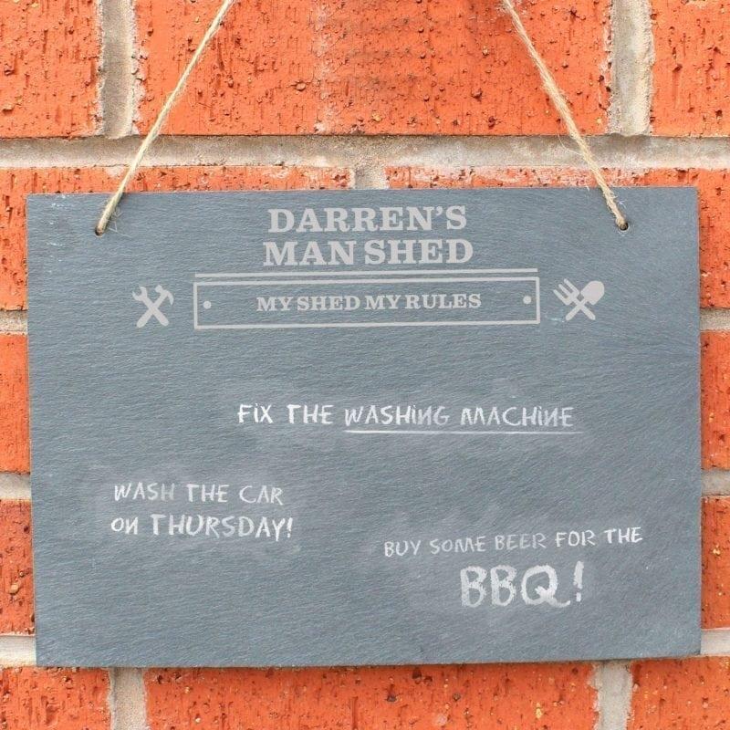 Personalised Man At Work Hanging Slate Sign
