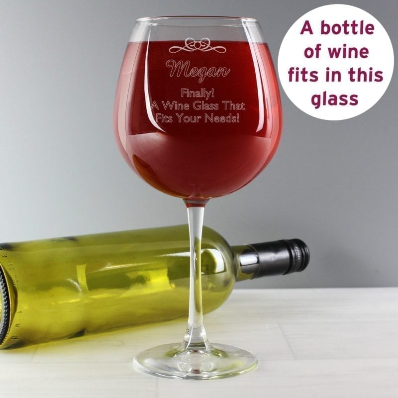 Personalised Decorative Bottle of Wine Glass