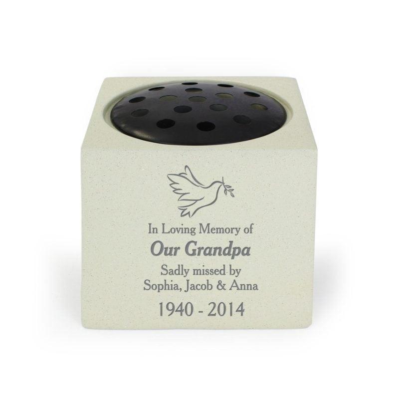 Personalised Dove Memorial Vase