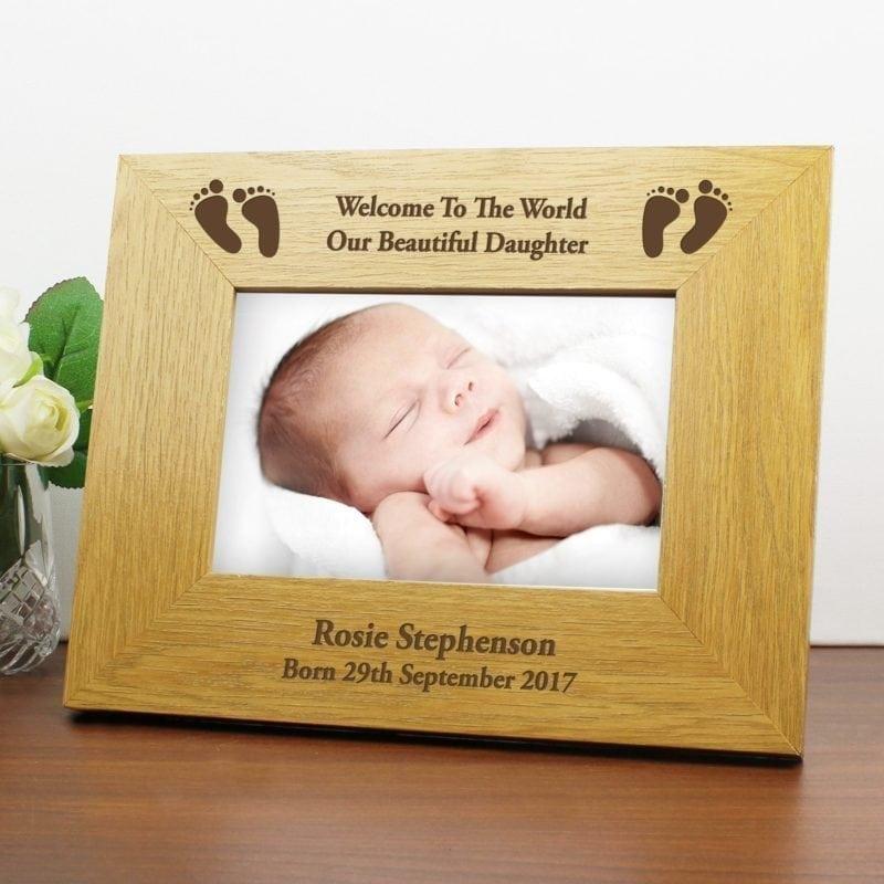Personalised Oak Finish 6x4 Landscape Baby Footprints Photo Frame