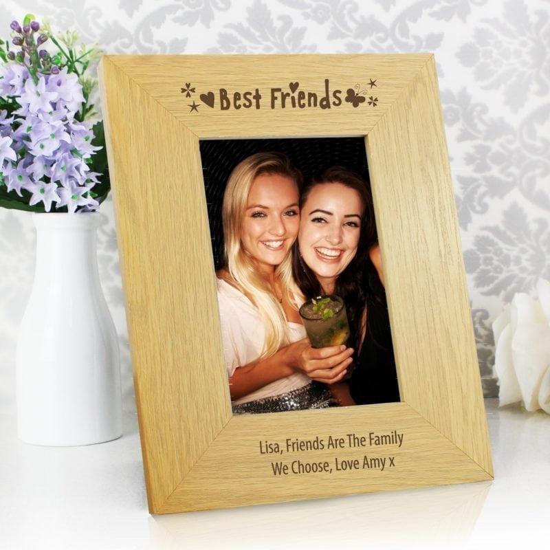 Personalised Oak Finish 4x6 Best Friends Photo Frame
