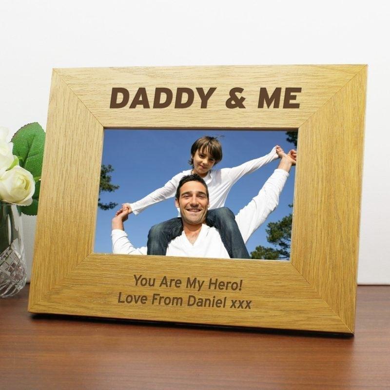 Personalised Oak Finish 6x4 Daddy & Me Photo Frame