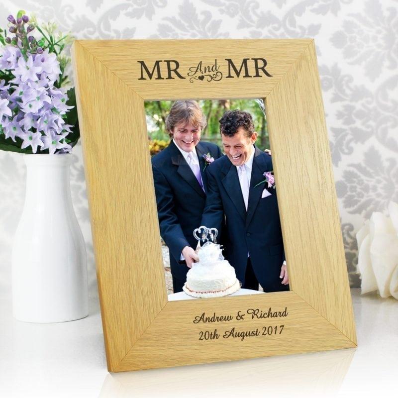 Personalised Oak Finish 4x6 Mr & Mr Photo Frame