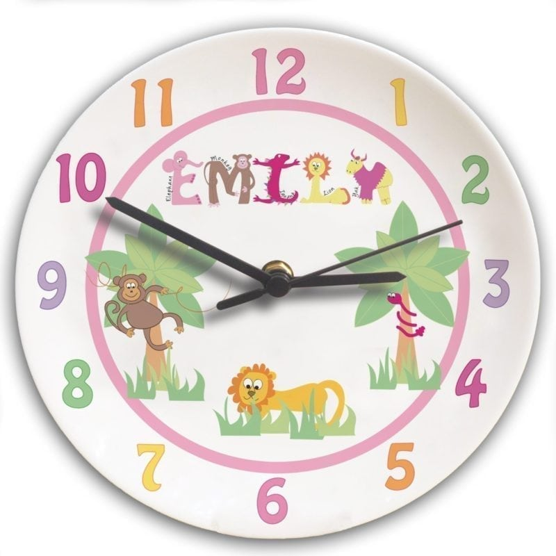 Personalised Animal Alphabet Girls Clock