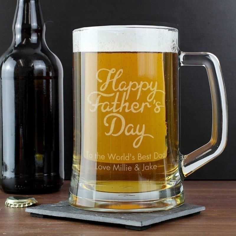 Personalised Happy Fathers Day Glass Pint Stern Tankard