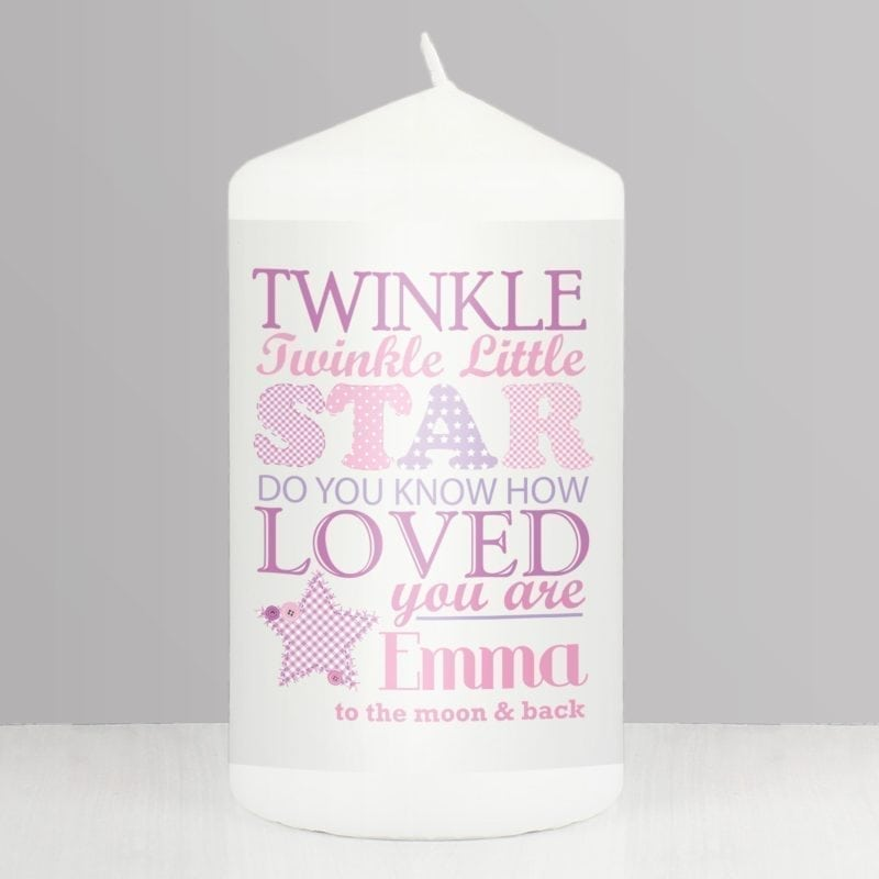 Personalised Twinkle Girls Candle