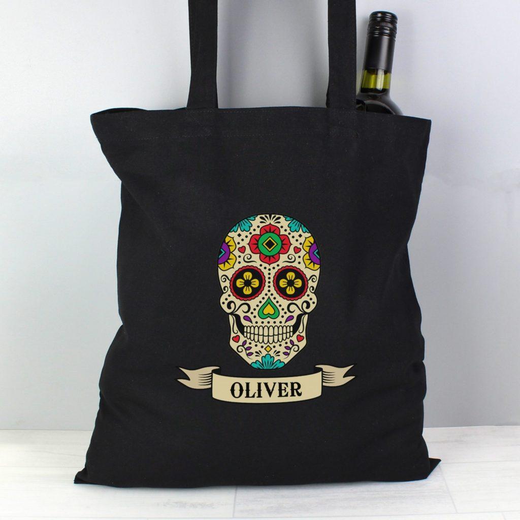 Personalised Sugar Skull Black Cotton Bag