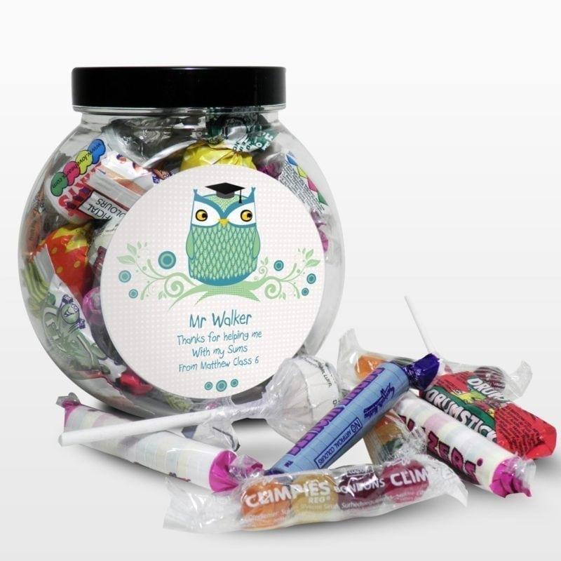 Personalised Mr Teacher Owl Sweet Jar