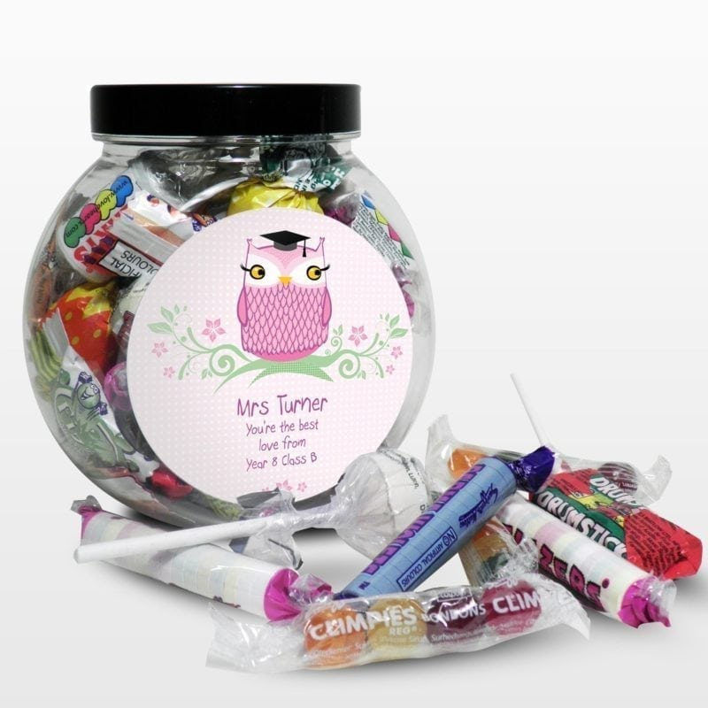 Personalised Miss Teacher Owl Sweet Jar