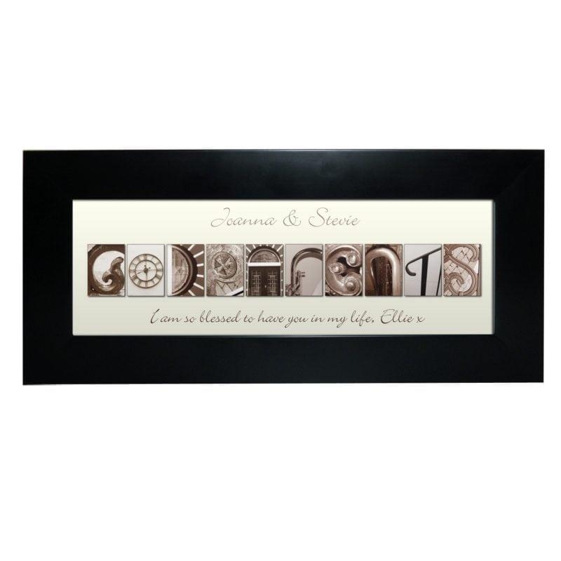 Personalised Affection Art Godparents Black Frame