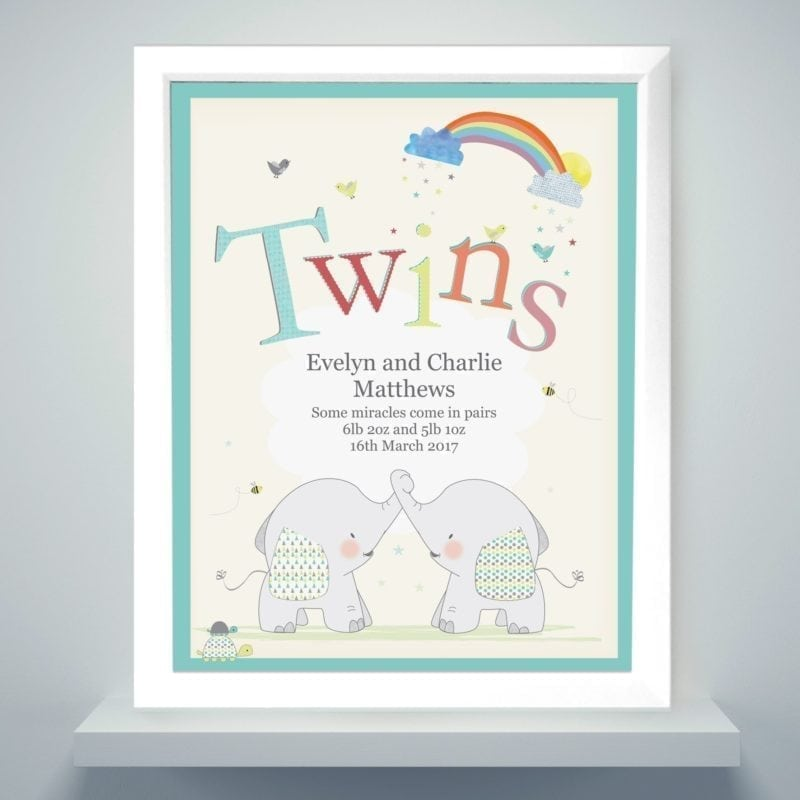 Personalised Hessian Elephant Twins Poster Frame