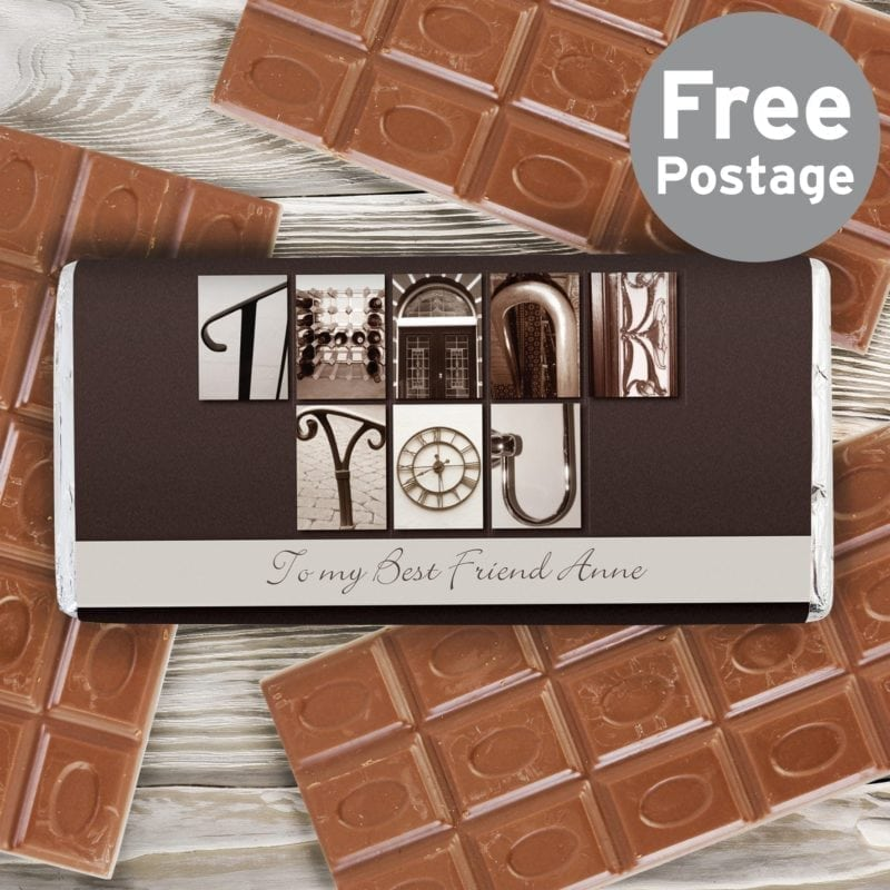 Personalised Affection Art Thank You Milk Chocolate Bar