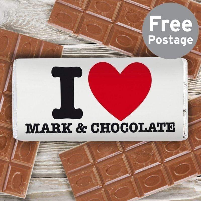 Personalised I HEART Milk Chocolate Bar