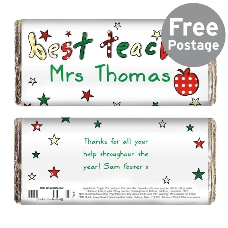 Personalised Teacher Milk Chocolate Bar