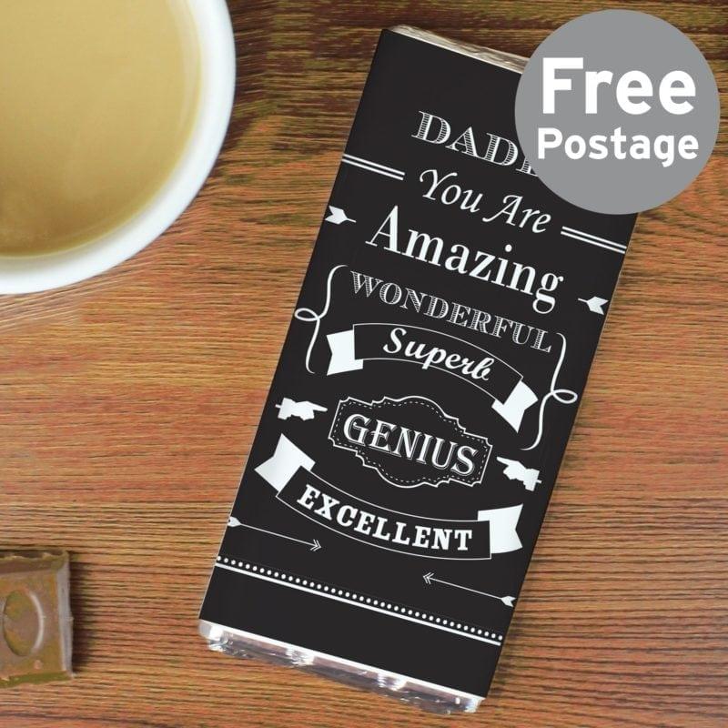 Personalised Vintage Typography Milk Chocolate Bar