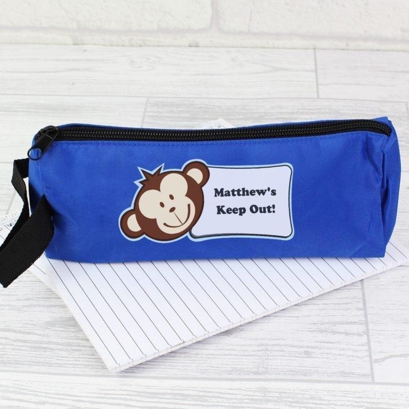 Personalised Monkey Blue Pencil Case