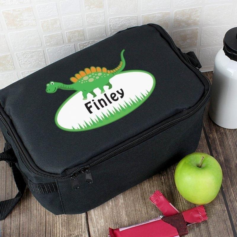 Personalised Dinosaur Black Lunch Bag