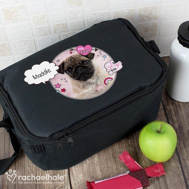 Personalised Rachael Hale Doodle Pug Black Lunch Bag