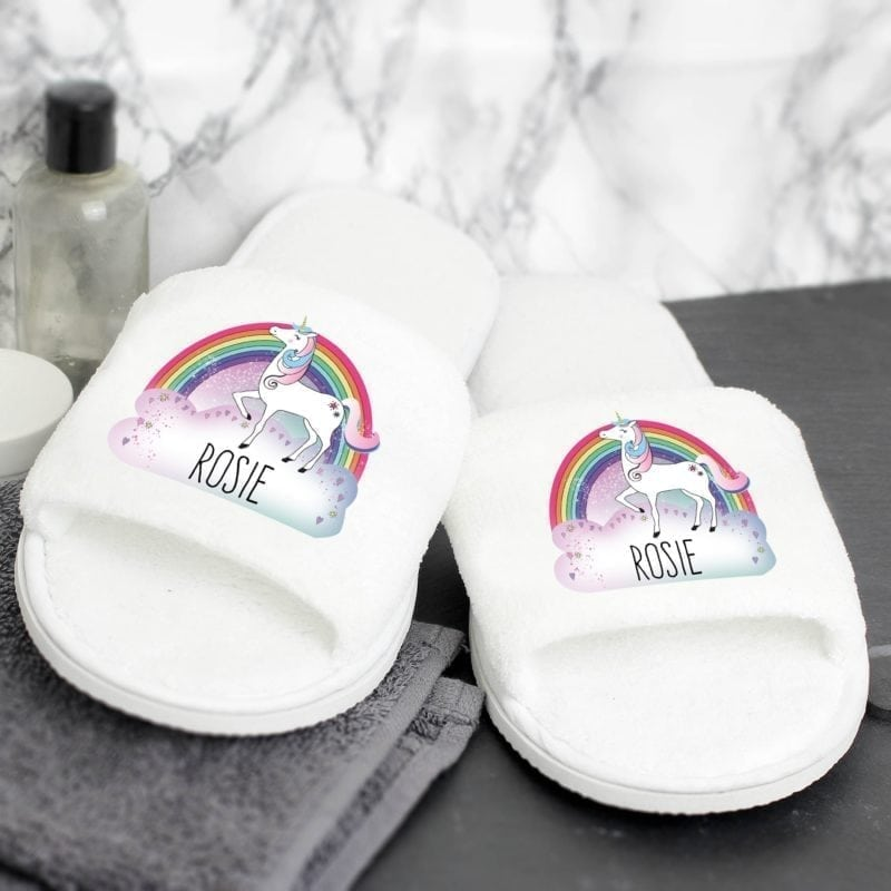 Personalised Unicorn Velour Slippers