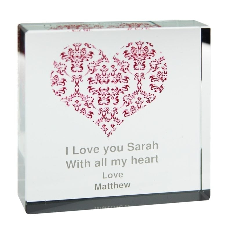 Personalised Damask Ruby Heart Large Crystal Token