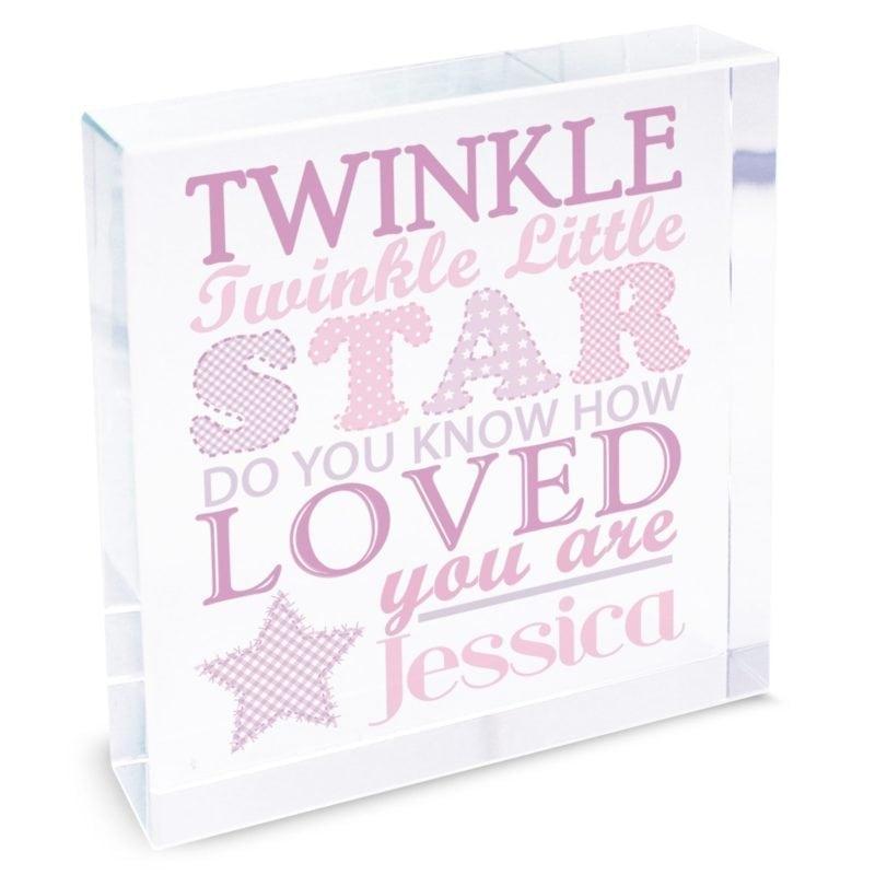 Personalised Twinkle Girls Large Crystal Token