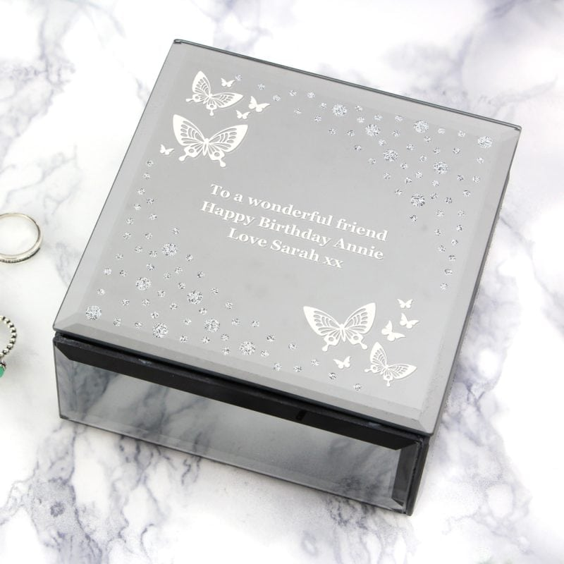 Personalised White Butterfly Diamante Glass Trinket Box