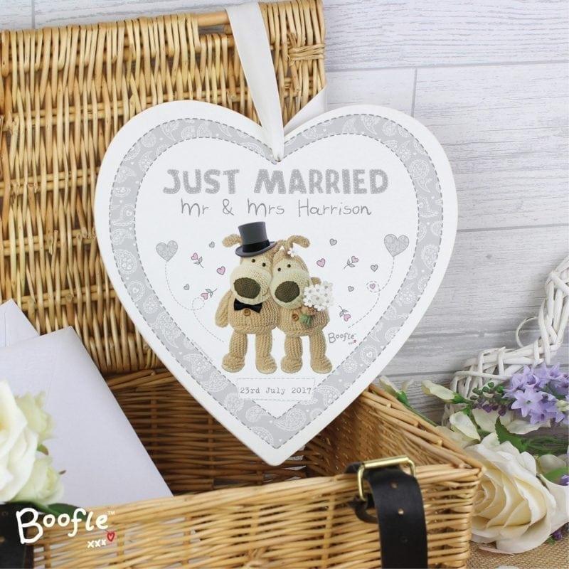 Personalised Boofle Wedding Large Wooden Heart Decoration