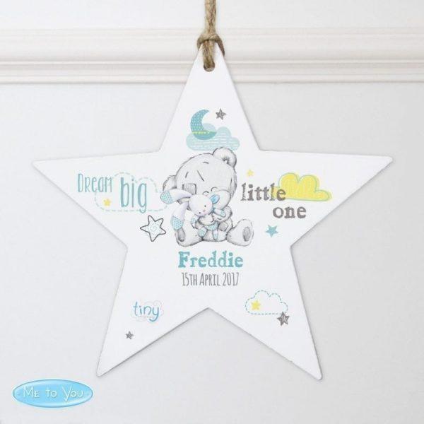 Personalised Tiny Tatty Teddy Dream Big Blue Wooden Star Decoration