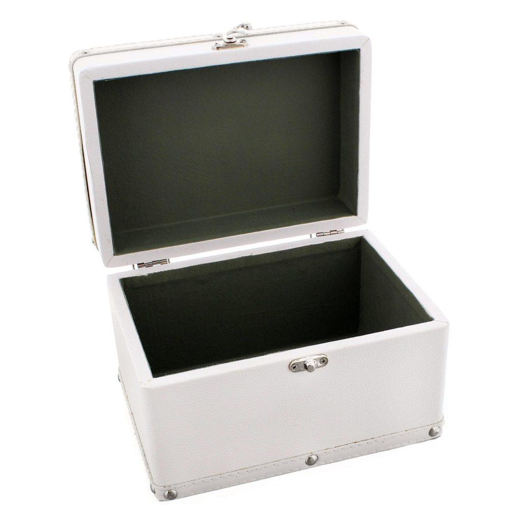 Personalised Soft Watercolour White Leatherette Keepsake Box